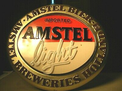 Imported Beer Amstel Light Sign ~ Wall Plaque Advertising ~ Van Munching Co.
