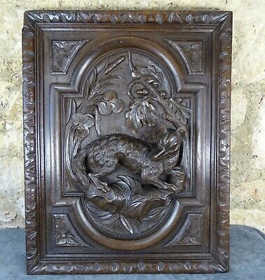 Antique French Deep Carved Oak Wood Door Panel - Black Forest Style -Hunting Dog
