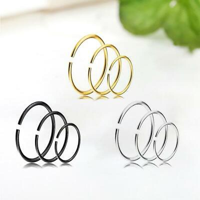 9pcs Fake Nose Ring Septum Ear Lip Ring Hoop Cartilage Small Piercing 6/8/10mm