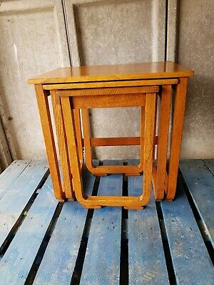 Vintage Oak Art Deco Nest Of Tables