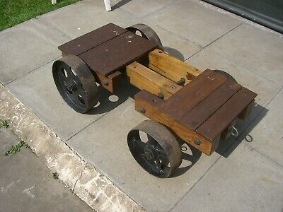 (J) VERY NICE Custom Made LISTER D TROLLY = METAL & WOOD , VERY HEAVY, NO OFFERS