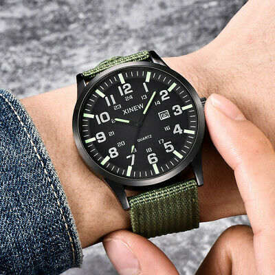 Men Boy Round Dial Nylon Strap Band Military Army Date Quartz Wrist Watch Gift