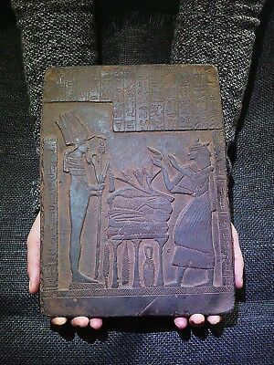 EGYPTIAN ANTIQUE ANTIQUITIES Seti I Getting Gifts Stela Relief 2291-2278 BC