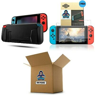 EGP Tempered Glass & Comfort Grip Protective Case [BUNDLE] for Nintendo Switch