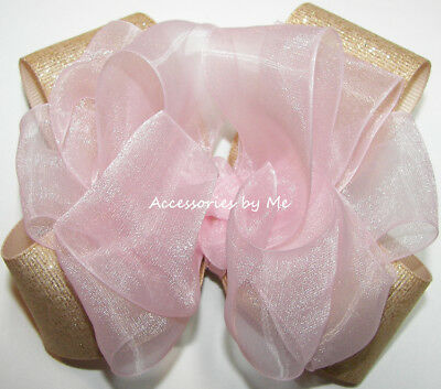 Sparkly Pink Gold Bow Light Blush Organza Glittery Champagne Flower Girls Clip