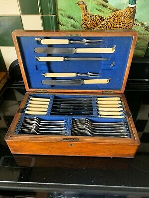 Vintage Oak Canteen Cutlery-Joseph Elliot-Sheffield- 60 piece setting