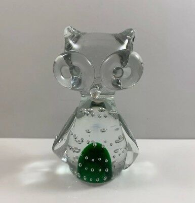 """Murano Style Owl Art Glass Controlled Bubble Figurine Paperweight Green/Clear 4"""""""