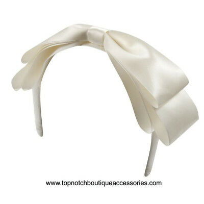 Ivory Satin Headband Baby Hair Band Flower Girl Occasion Party Bow Beige Cream