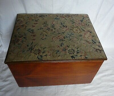Vintage Pine Chest Storage Blanket Box on Casters Tapestry Cover SEE DESCRIPTION