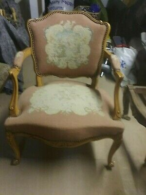Vintage French Tapestry Fauteul Chair