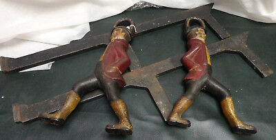 Rare Pair of Antique Cast Iron Small Figural Hessian Soldier Andirons