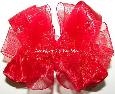 Red Hair Bow Organza Satin 3 Inch Toddler Baby Small Flower Girl Church Party