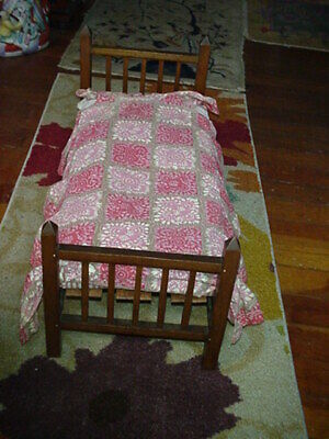Antique Baby Doll Bed Coverlet Embroidered Dog Horseshoe Bird Goat Chicks Insect Linens & Textiles (pre-1930) Bedspreads & Coverlets