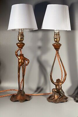 Liberty & Co. pair Aesthetic movement frog candlesticks now converted to lamps