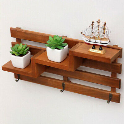 Wooden Wall Shelf Vintage 3-Tier Ladder Style Shelves Racks Wall Storage Display