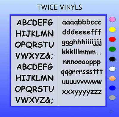 any colour STICKY LETTERS Rounded 20mm OR 25mm high vinyl alphabet set