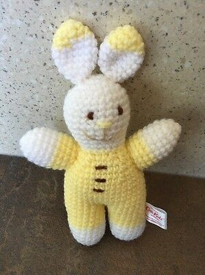 Cath Kidston Cath Kids Knitted Bunny Rabbit Soft Toy Yellow & White Free P&P
