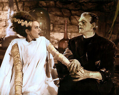 ELSA LANCHESTER BORIS KARLOFF BRIDE OF FRANKENSTEIN 8x10 HAND COLOR TINTED PHOTO