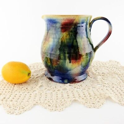 Italy Drip Glaze Pottery Pitcher Multi Color Hand Painted Italian Italica ARS