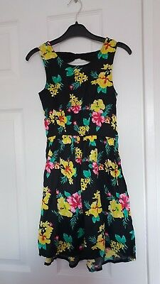 Brand New Girls Black Floral Summer Dress With Bow Detail Size 9-10 Years