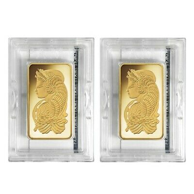 Lot of 2 - 5 oz PAMP Suisse Lady Fortuna Gold Bar .9999 Fine (In Assay)