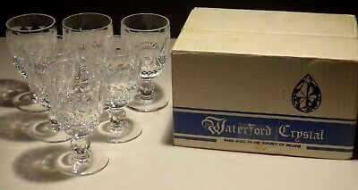 6 Vintage Waterford Crystal Colleen Claret Wine Glasses  ~ In Box