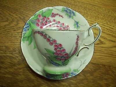 HTF Vintage Crown Royal Albert Pink Foxglove/Periwinkle Avon Style Cup & Saucer