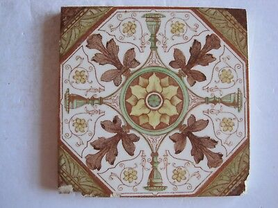 Antique Victorian T.g.& F. Booth / Carron Co Print & Tint Wall Tile- C1888