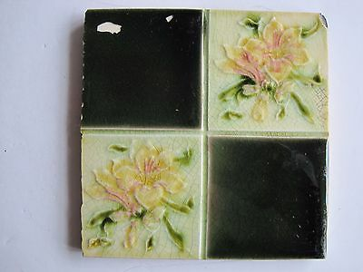 Antique Art Nouveau Pilkingtons Wall Tile - Quartered Plain And Floral Design