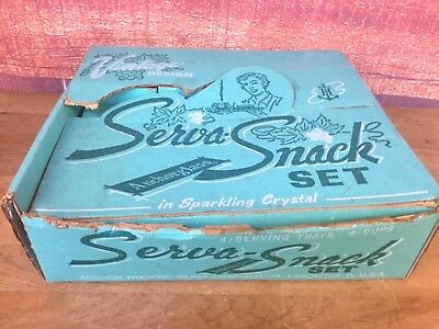 Vintage Anchor Hocking Grapes & Leaves Clear Glass Serva Snack Set of 4 w/ box