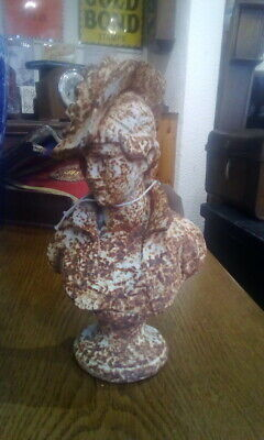 French Antique Cast Iron Garden Bust Lady Figure