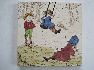 "Antique Victorian T & R Boote ""Rosebud Series"" Tile- Children With Swing"