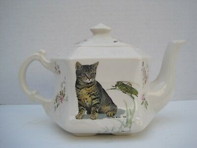 Vintage Crownford Personal Tea Pot Hexagon Shape Cat Design Made in England