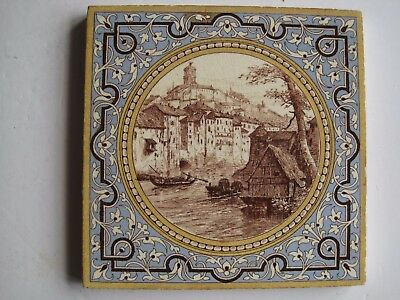 Antique Victorian Mintons Landscape In Circular Frame Tile - Castle On Hill