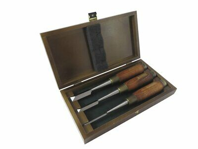 "Narex 3 Piece Dovetail Japanese Chisel Set: 1/4"", 1/2"" and 3/4"" in Wood Box"