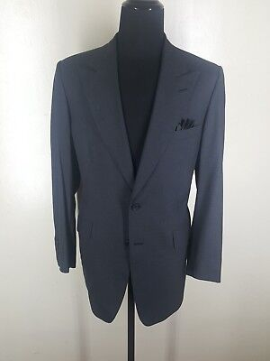 BERGDORF GOODMAN  Bespoke Gray Peaked Lapel Wool Sport Coat  Fit 44-46 Long