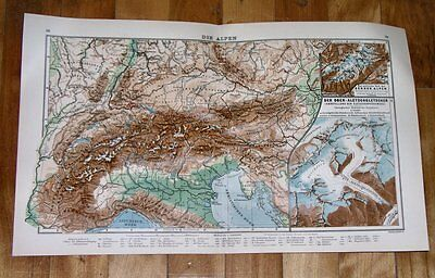 1930 Vintage Physical Map Of Alps / Italy Lombardy Piedmont Austria Switzerland