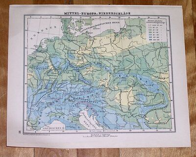 1930 Vintage Map Of Germany Poland Hungary Rainfall Weather Climate Meteorology