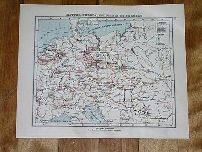 1930 Vintage Map Of Germany Poland Hungary Industry Minerals Agriculture