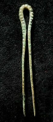 Antiquity 800 BC Bronze Age Tweezers Medical 3.5 Inch & Stand Luristan Persia VG
