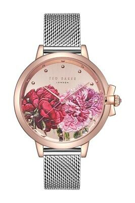 33f9a3832114 Ted Baker TE50641005 Watch 36mm Palace Gardens Floral Dial Silver Mesh  Bracelet