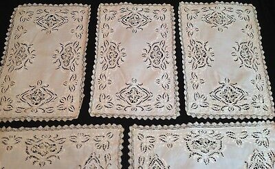 5 Antique Needle Lace Place Mats Italian Embroidered Linen Vintage