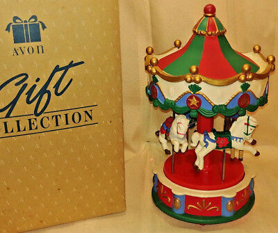 Avon Gift Collection Santa's Caroling Carousel 12? Songs Great Working Condition