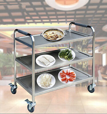 3 Tiers Drink/Food Storage Hotel Restaurant Stainless Trolley Dining Catering