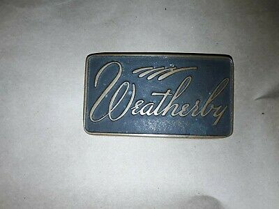 Vintage Weatherby Solid Brass Bronze  Belt Buckle Firearms Rifles Big Game
