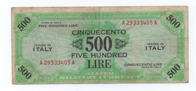 500  Am Lire Occupazione Americana In Italia Bilingue F. L. C