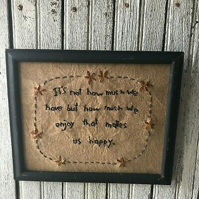 """Primitive Sampler """"It's Not How Much We Have"""" Black Frame Hand Embroidered"""