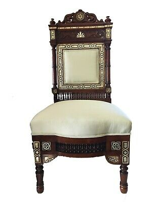 """Museum Quality 19th C Moorish/Middle Eastern chair 41"""" H"""