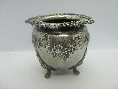 Vintage / antique silver plated footed vase ornate raised decoration