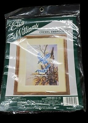 "Elsa Williams Crewel Embroidery Kit ""Graceful Sentinels"" Birds by Ruane Manning"